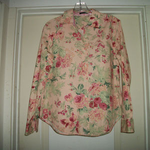 PRETTY IN PINK FLOWERS VINTAGE SHIRT BL LG